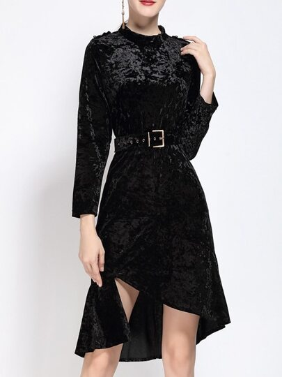 Black Velvet Belted Asymmetric Dress