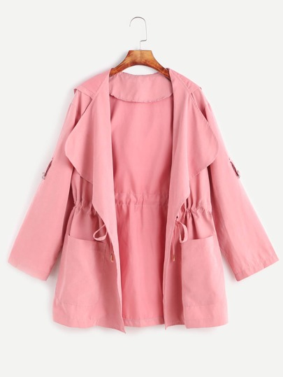 Pink Drawstring Waist Hooded Coat