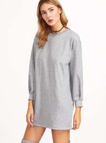 Grey Drop Shoulder Sweatshirt Dress