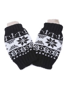 Black Snowflake Fingerless Ribbed Knit Gloves