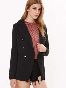 Black Notch Collar Double Breasted Blazer