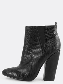 Pointy Toe Snake Ankle Booties BLACK