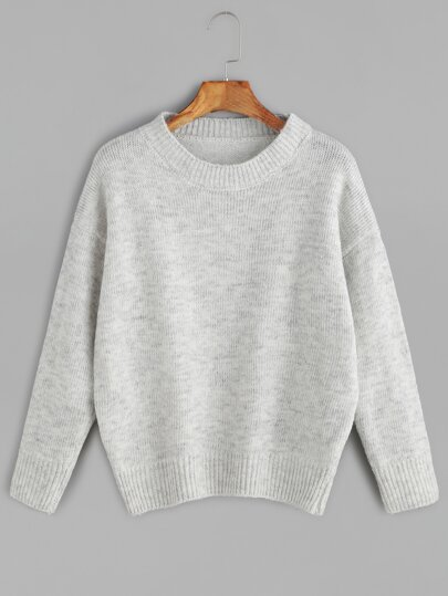 Grey Drop Shoulder Jersey Sweater