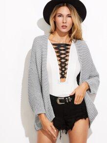Grey Drop Shoulder Chunky Knit Sweater Coat