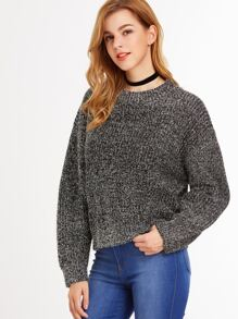 Silver Drop Shoulder Fuzzy Sweater