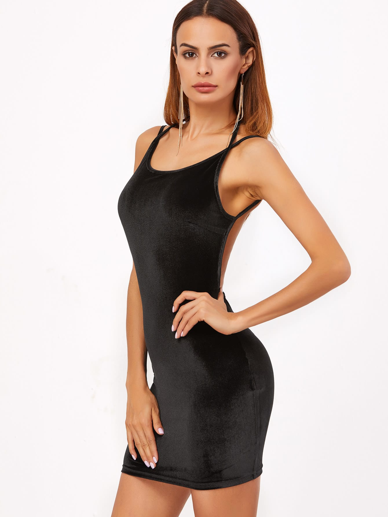Фото Double Strap Backless Velvet Cami Dress. Купить с доставкой
