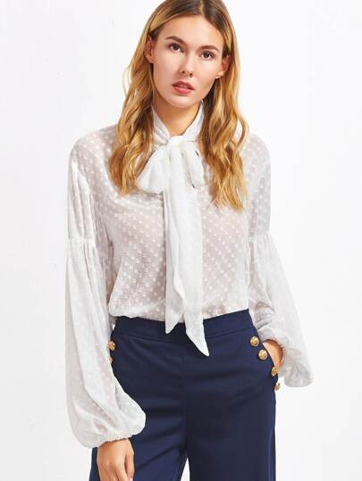 White Tie Neck Lantern Sleeve Dotted Blouse