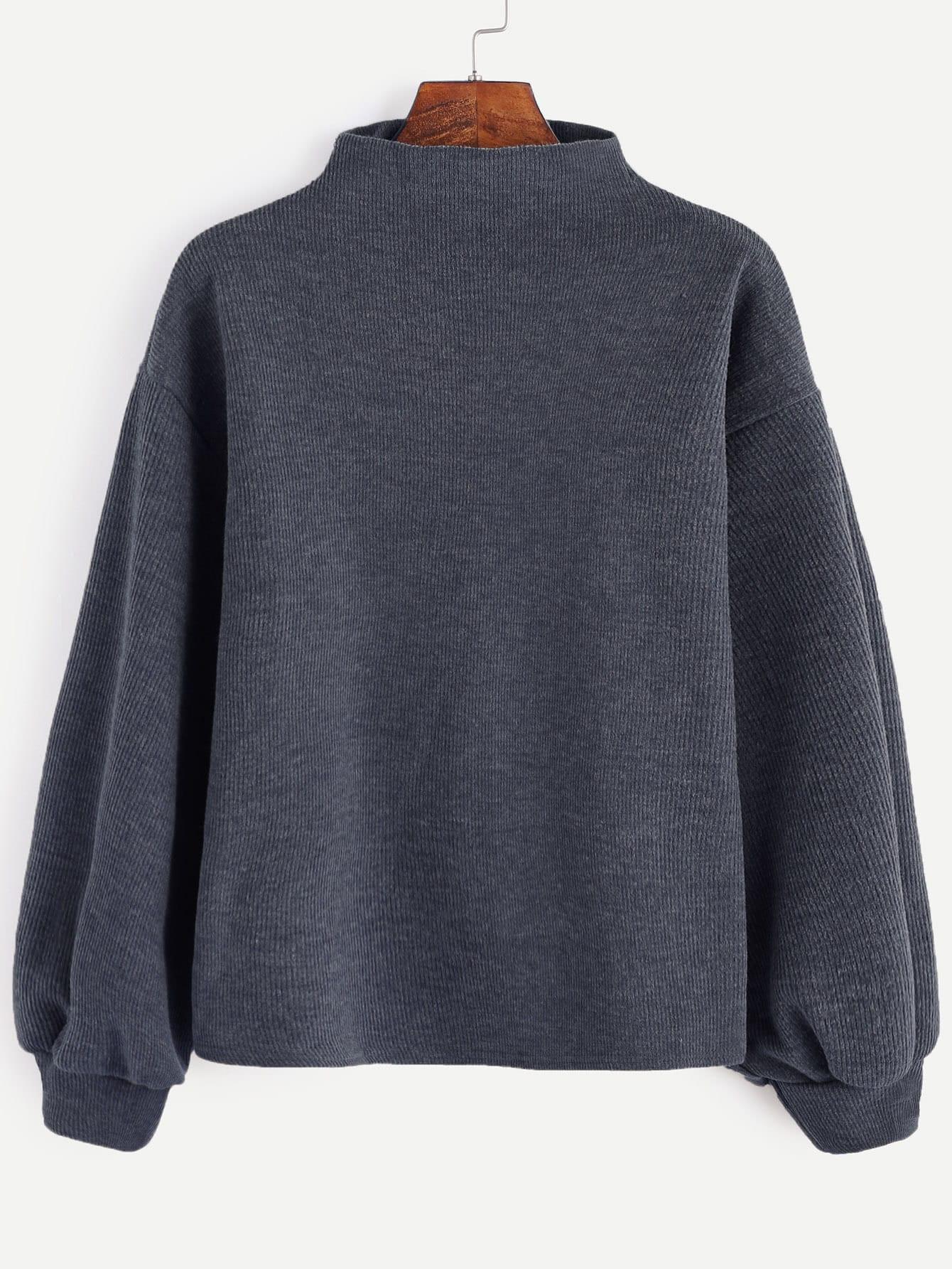 Dark Grey Ribbed Lantern Sleeve Sweater sweater161122006