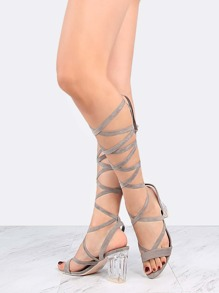 Open Toe Perspex Block Heels GREY