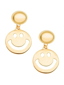 Gold Plated Smiley Face Hollow Out Drop Earrings
