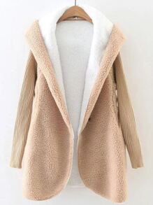 Khaki Hooded Faux Shearling Coat With Knit Sleeve