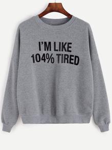 Sweat-shirt imprimé lettre à l'épaule laissé -gris