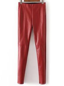 Red Zipper Cuff Seam PU Pants