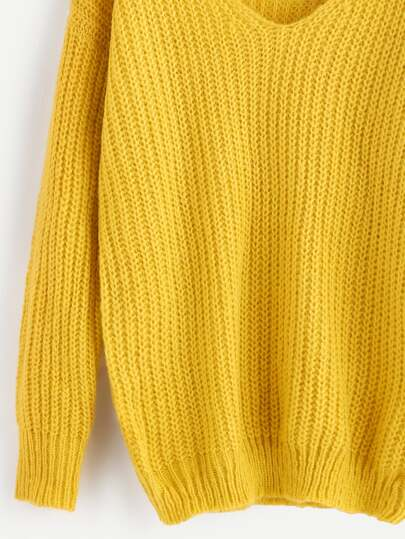 Yellow Ribbed Knit V Neck Drop Shoulder Sweater -SheIn(Sheinside)