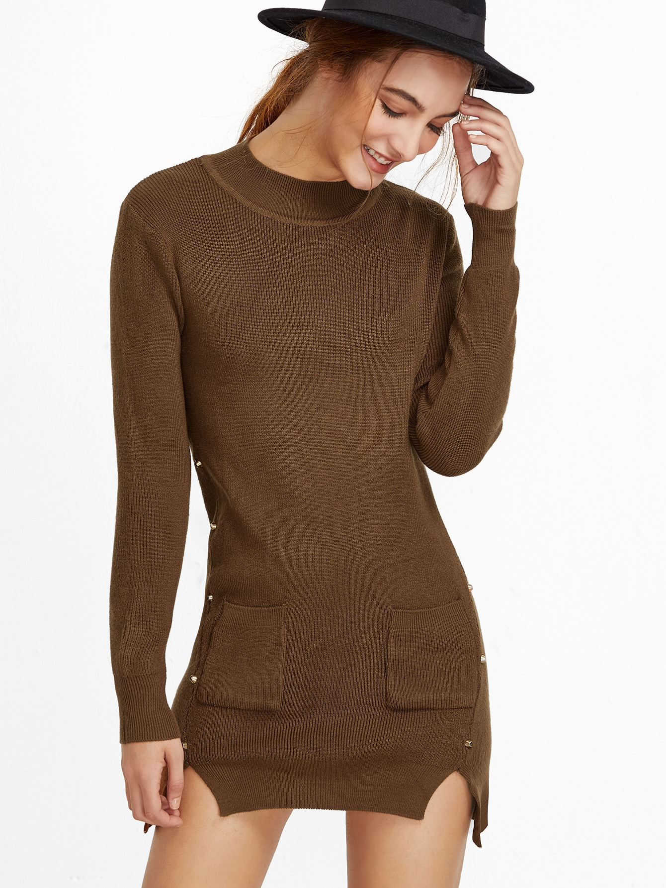 Khaki Slit Side High Low Studded Sweater sweater161102005