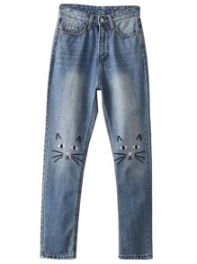 Cat Embroidery Skinny Jeans