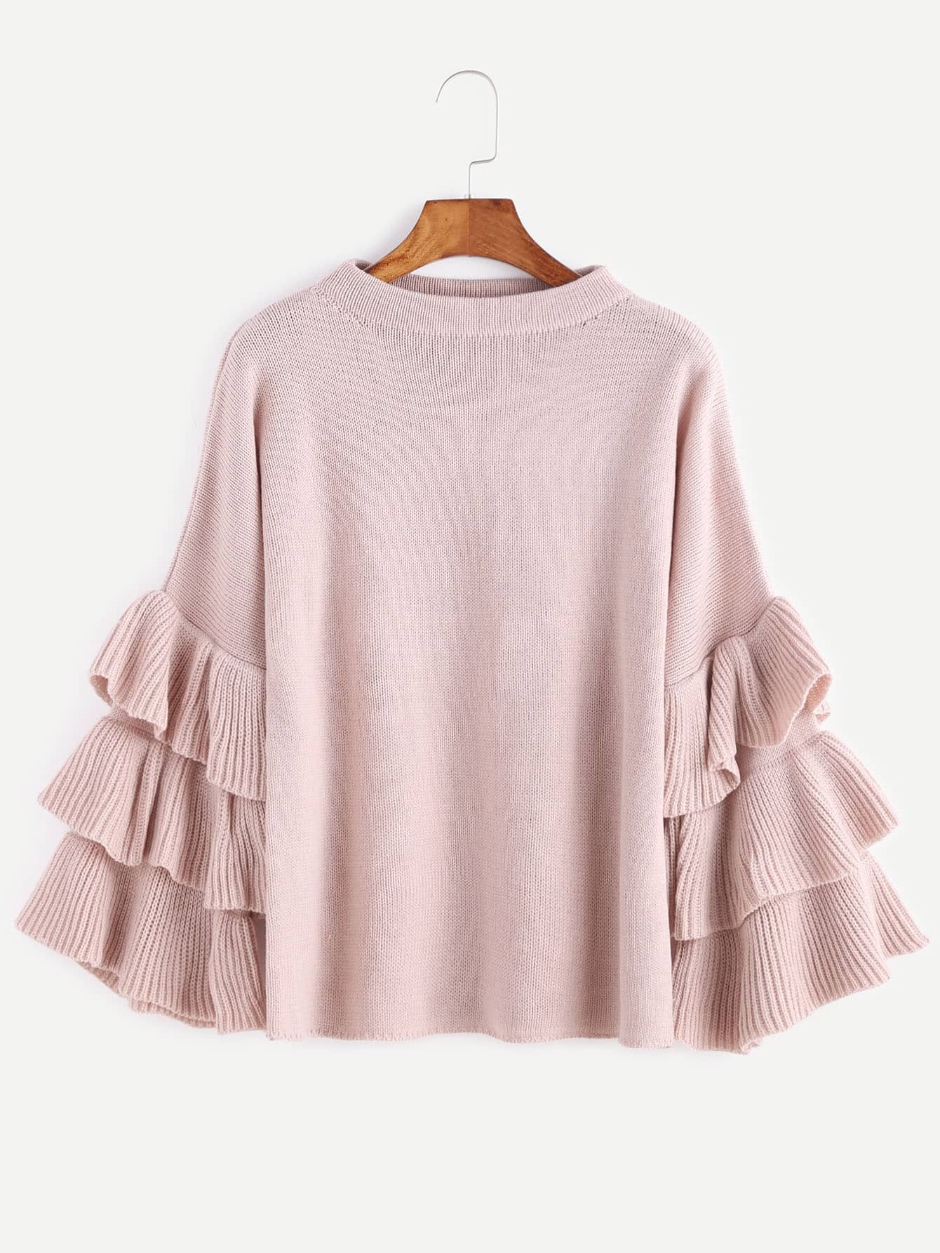 Pink Layered Ruffle Sleeve Pullover Sweater pearl detail layered frill sleeve top