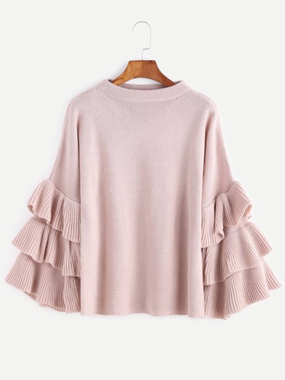 Pull-over manches volants superposé -rose