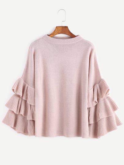 Pink Layered Ruffle Sleeve Pullover Sweater