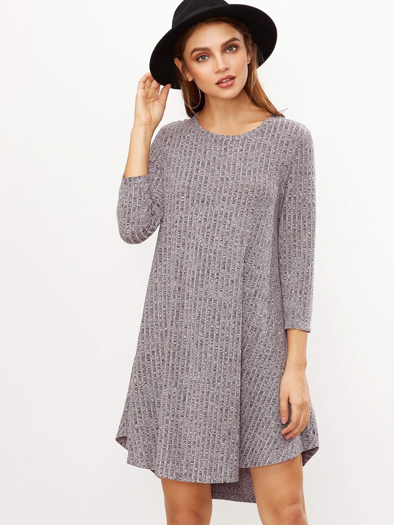 Grey Marled Knit Ribbed Swing Dress