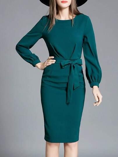 Dark Green Tie-Waist Sheath Dress