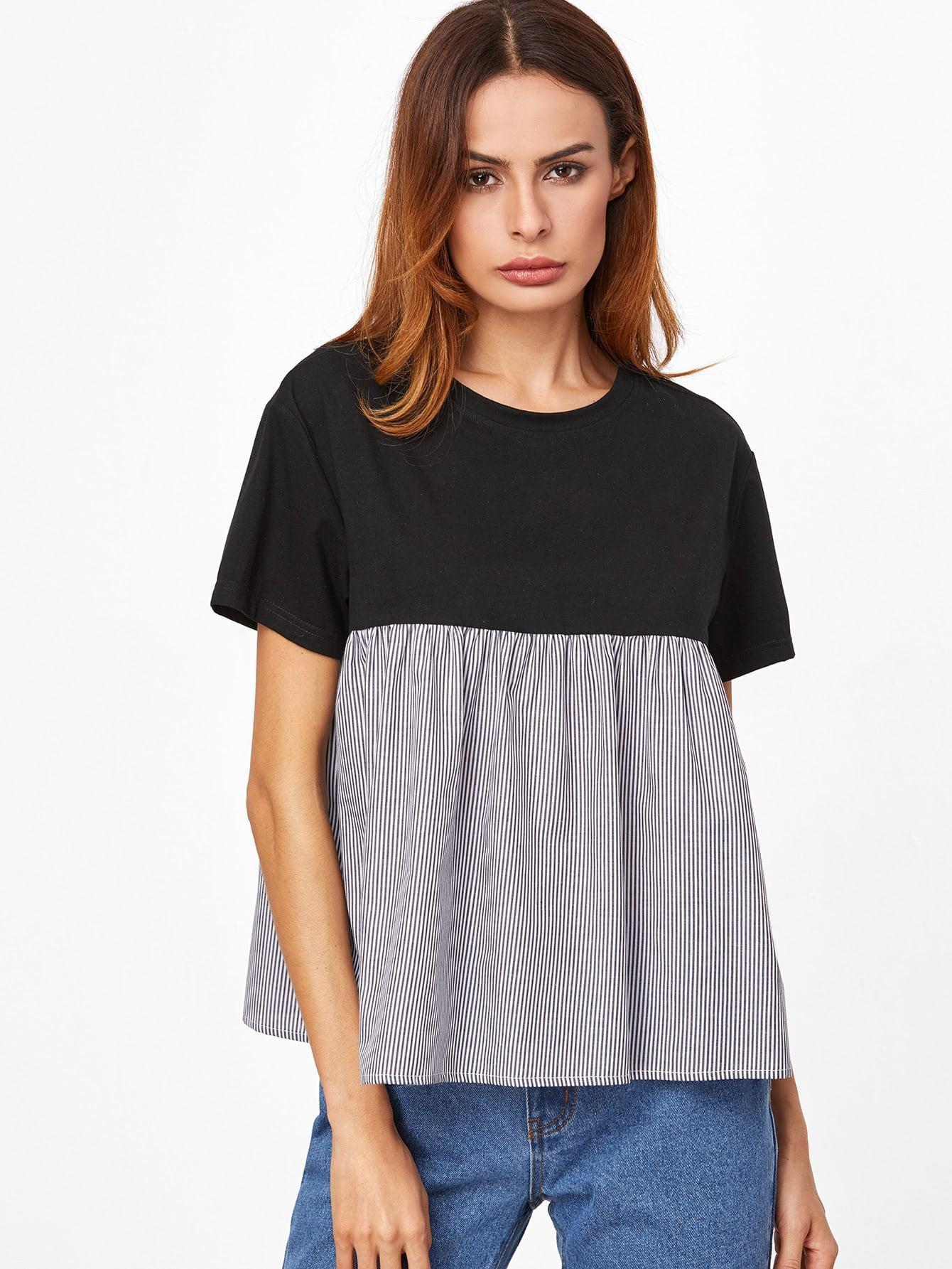 Contrast Striped Trim Babydoll T-shirt tee161118712