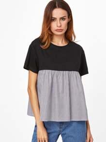 T-shirt poupée à rayures élancé contrasté