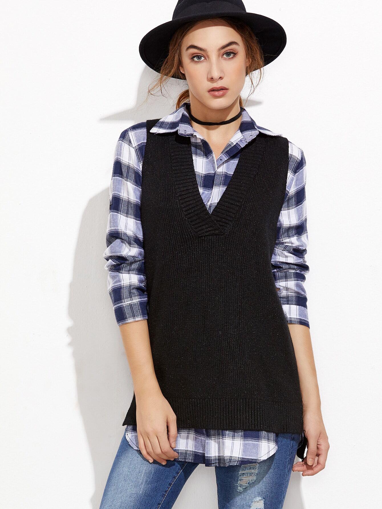 Black V Neck Slit Side High Low Sweater Vest sweater161101105