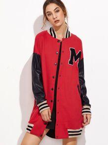 Contrast Coated Sleeve Longline Baseball Jacket