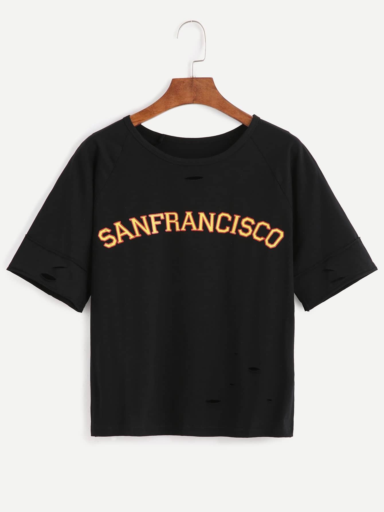Фото Slogan Print Distressed T-shirt. Купить с доставкой