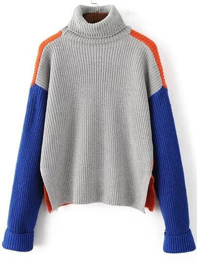 Grey Color Block Turtleneck Side Slit Sweater