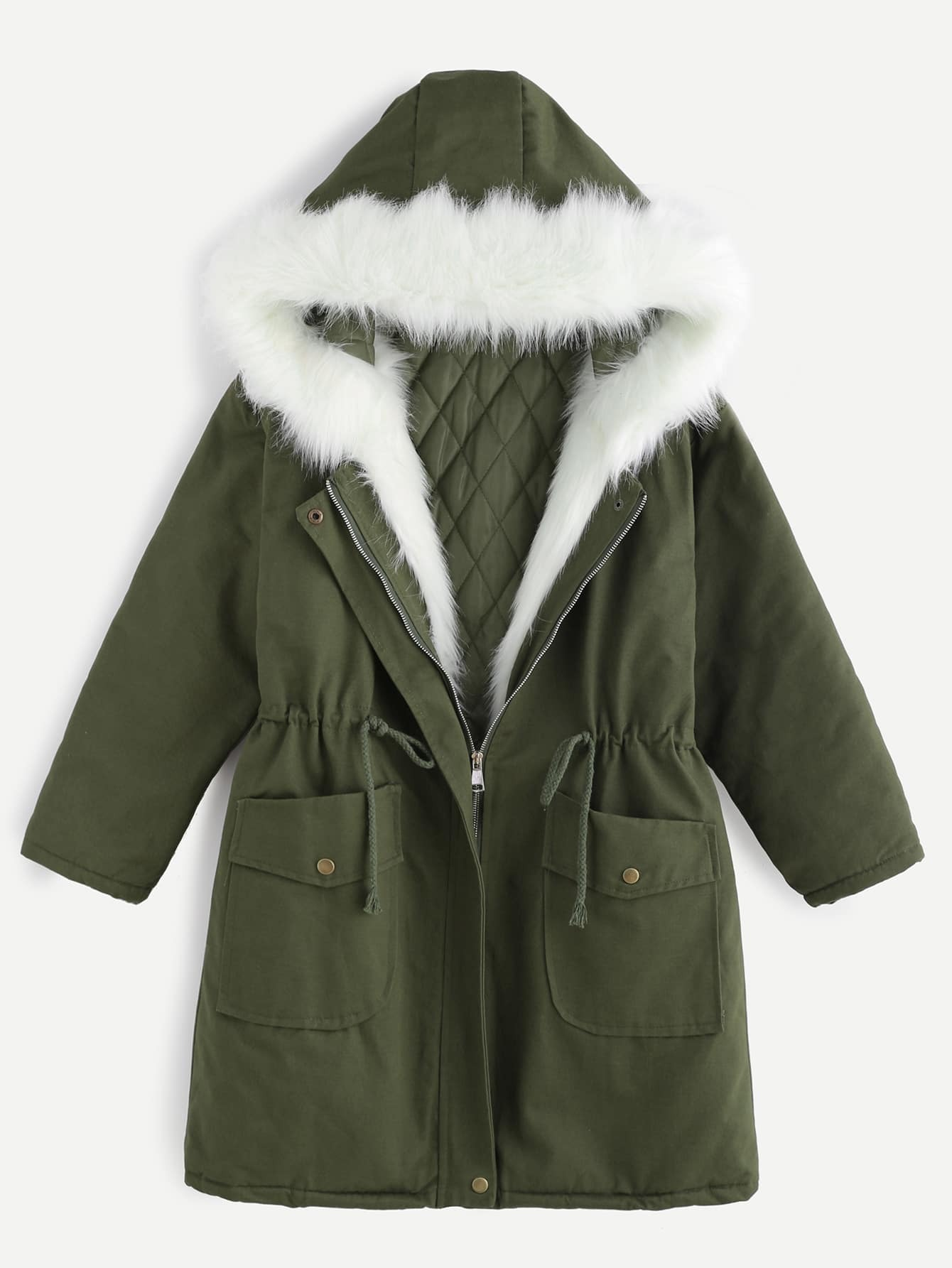 Buy Army Green Drawstring Hooded Parka Faux Fur