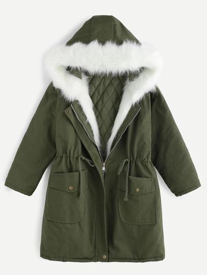 Faux Fur Drawstring Hooded Parka Coat