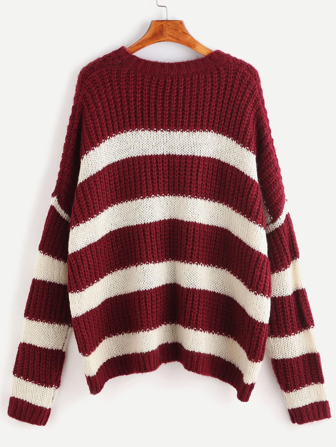 Burgundy And White Striped Double Pocket Front Sweater -SheIn ...