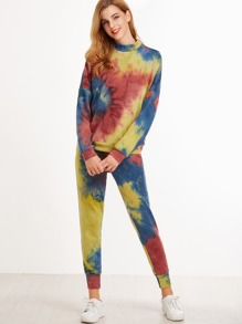 Multicolor Tie Dye Print Drop Shoulder Sweatsuit