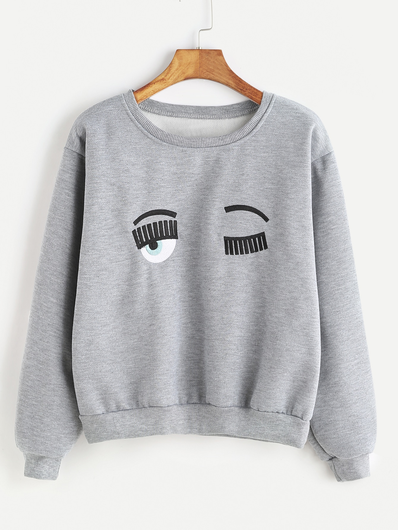 Grey Ribbed Trim Eyes Embroidered Sweatshirt sweatshirt161121101