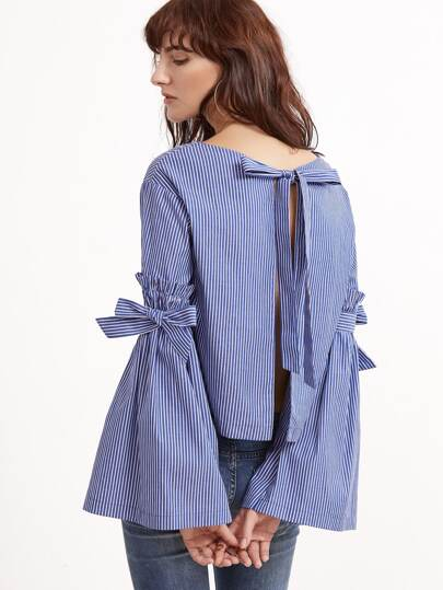 Blue Striped Bow Tie Split Back And Bell Sleeve Blouse