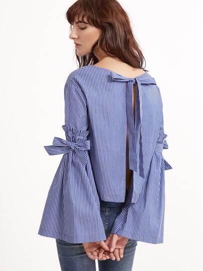 Bluse mit Streifen Schleife gespalten Hinten und Bellärmel-blau