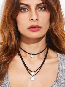 Black Layered Coin Pendant Choker Necklace