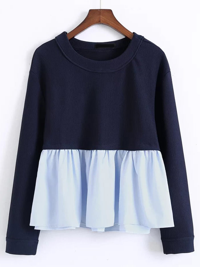 Contrast Frill Hem Sweatshirt zip back frill neck and hem sweatshirt