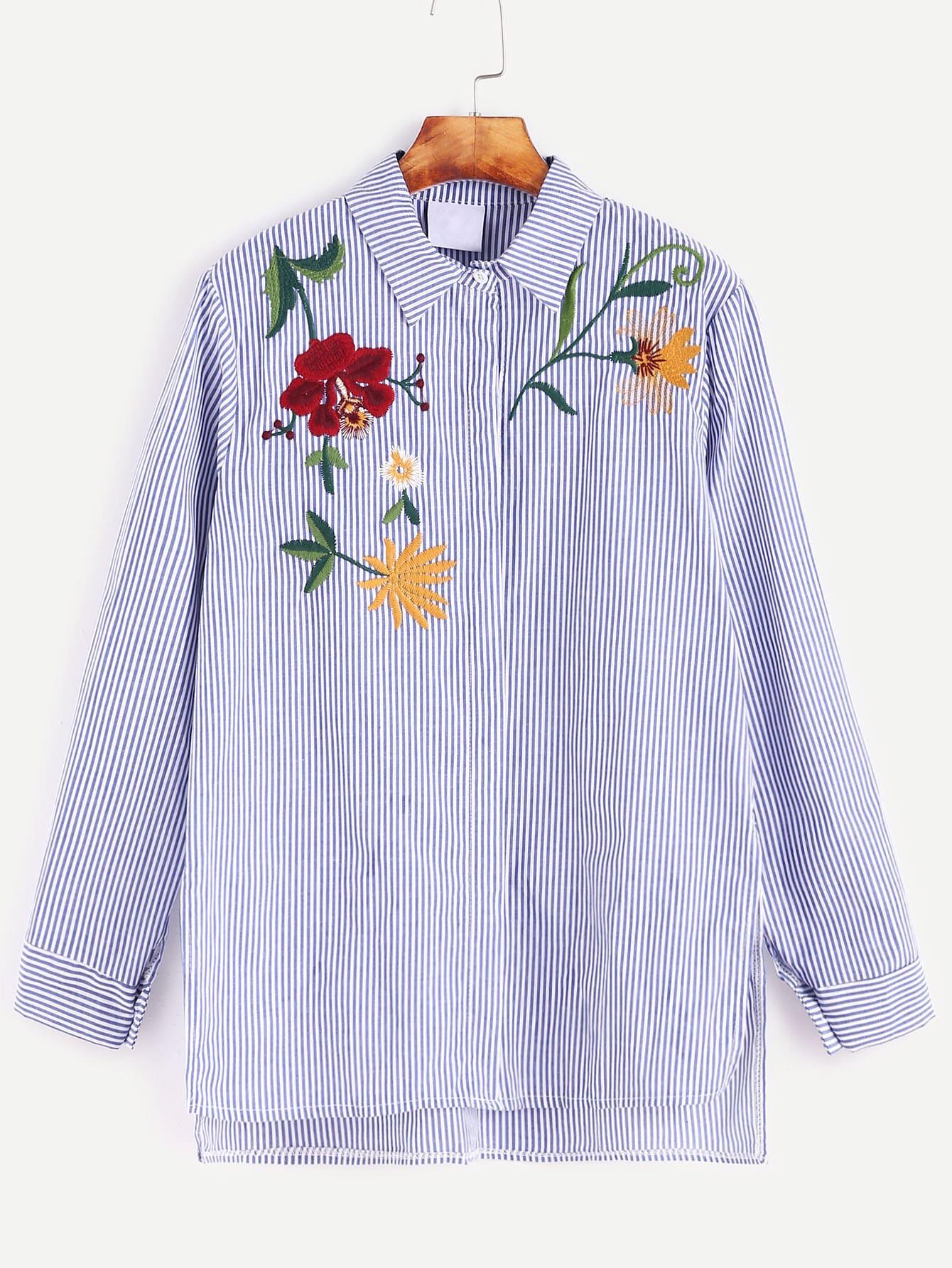 Блузки в полоску с вышивкой 11