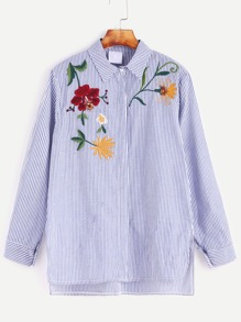 Blue Striped Flower Embroidered Slit Side High Low Shirt