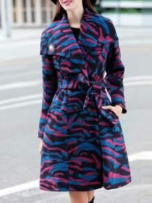 Color Block Lapel Tie-Waist Coat