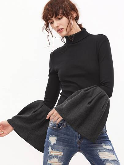 Black Ribbed Knit Turtleneck Oversized Bell Sleeve T-shirt
