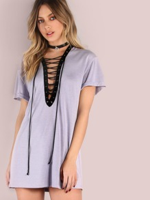 Purple Contrast Lace Up V Neck Tee Dress
