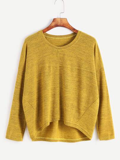 Yellow Drop Shoulder Dip Hem T-shirt