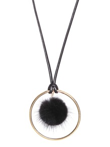 Black Pom Pom Gold Ring Long Pendant Necklace