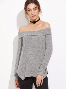 Grey Off The Shoulder Fold Over Asymmetric T-Shirt
