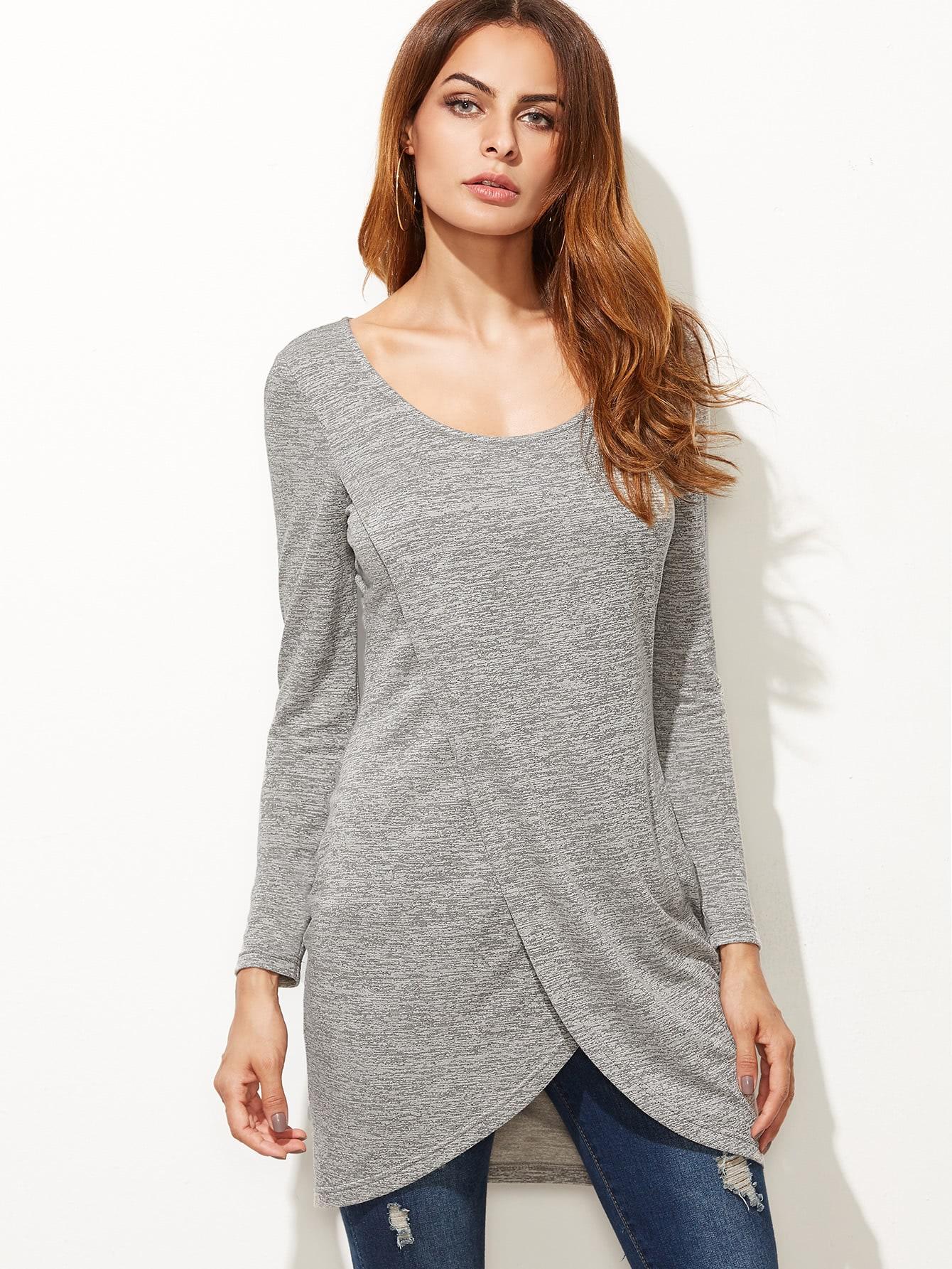 Фото Grey Marled Overlap Front Longline T-shirt. Купить с доставкой
