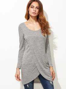Grey Marled Overlap Front Longline T-shirt